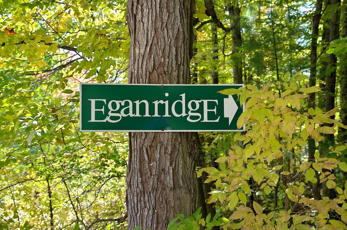 Eganridge Resort Sign posted on maple tree
