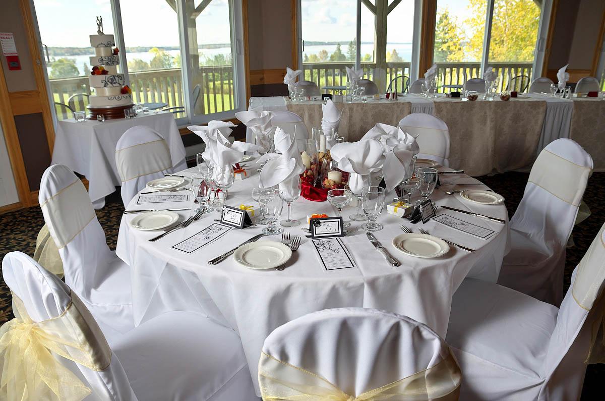 Beautifully decorated reception hall at Eganridge wedding in Fenelon Falls