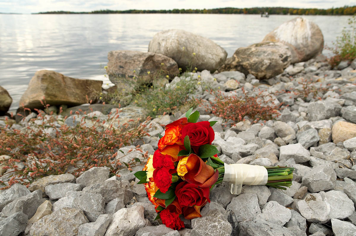 wedding bouquet by Sturgeon Lake at Fenelon Falls wedding at Eganridge Resort