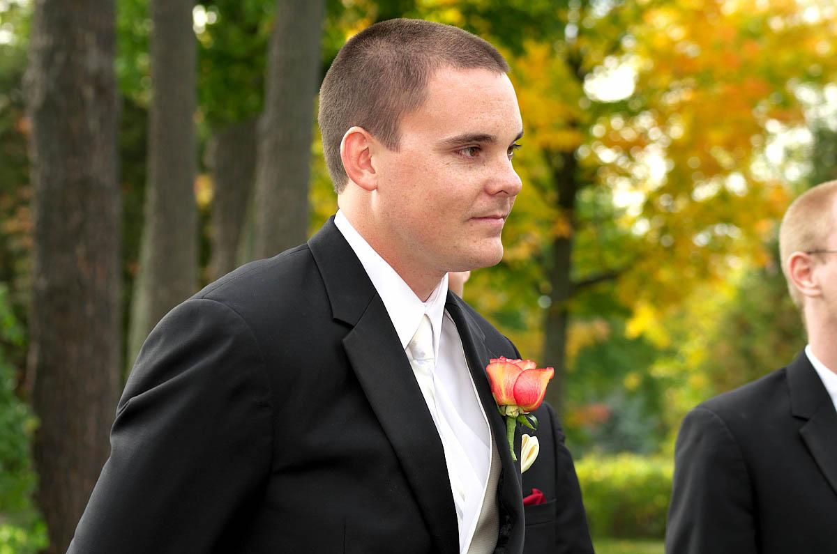 Groom awaiting his bridge at Eganridge wedding ceremony