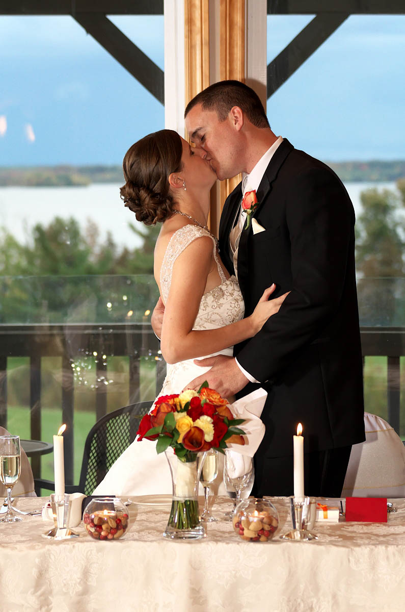Wedding kiss at Eganridge wedding ceremony