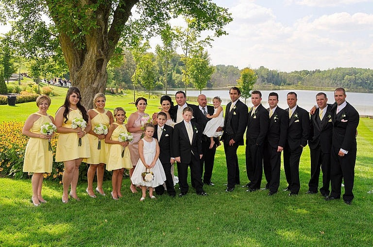 wedding party in garden at royal ambassador