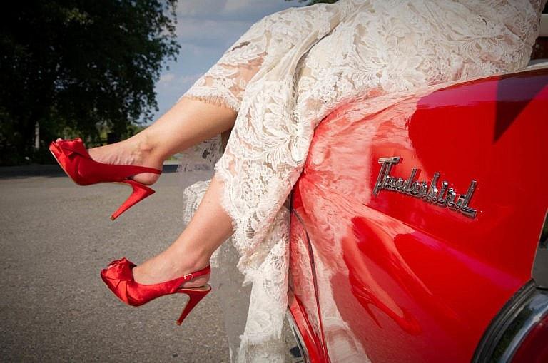 red heels with cheery red thunderbird at caledon wedding at Royal Ambassador