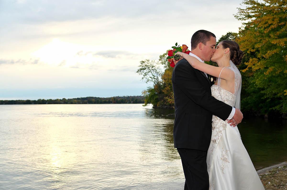 Bride and groom by Sturgeon Lake at Eganridge wedding