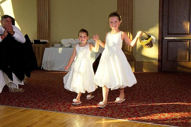 flower girls at wedding reception at Caledon wedding