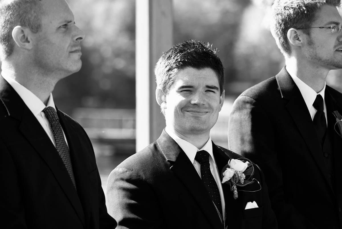 groom awaits his bride at viamede resort wedding ceremony