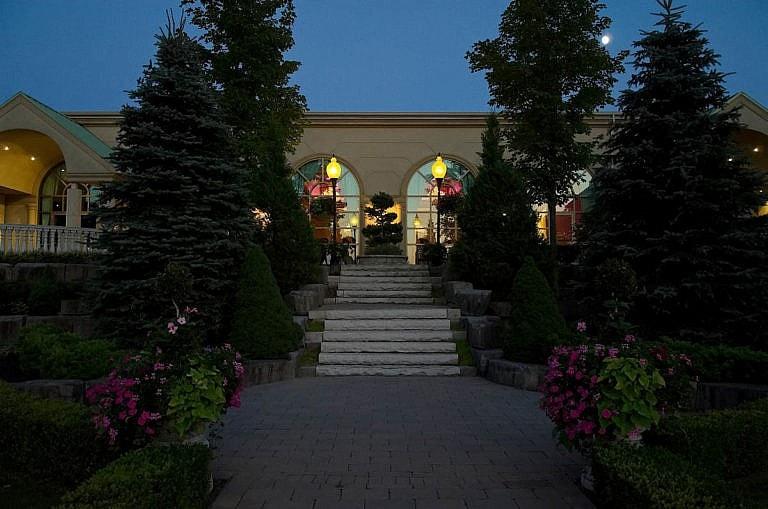 The Royal Ambassador wedding reception hall at night