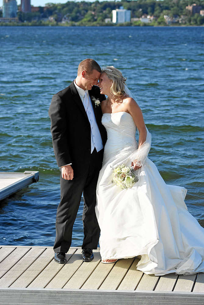 Bride and Groom by Lake Simcoe at Barrie wedding