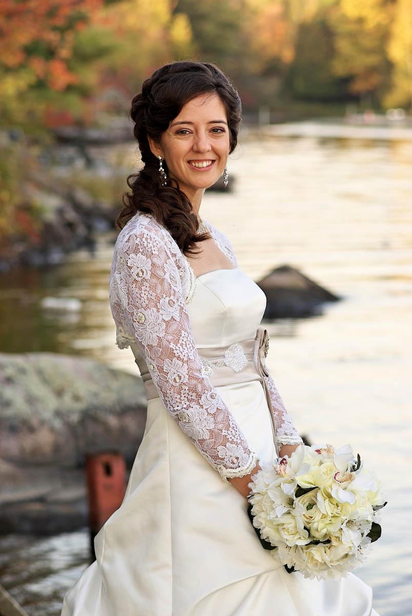 bride by stoney lake at kawartha lakes wedding on stoney lake at viamede resort