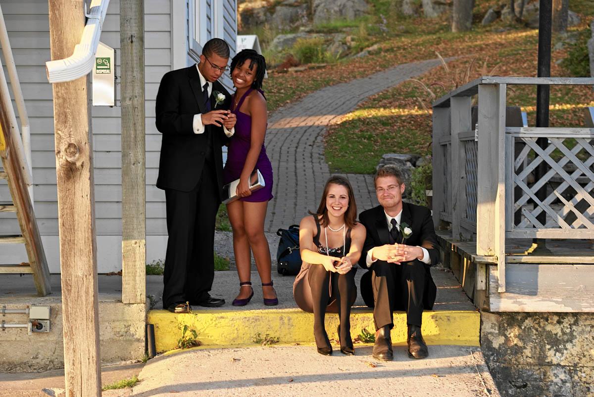 wedding party on dock at viamede resort wedding