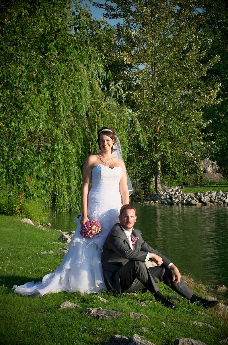 bride and groom pose in alliston