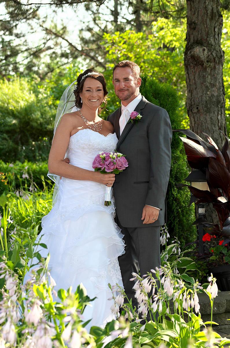 bride and groom smiling nottawasaga wedding garden