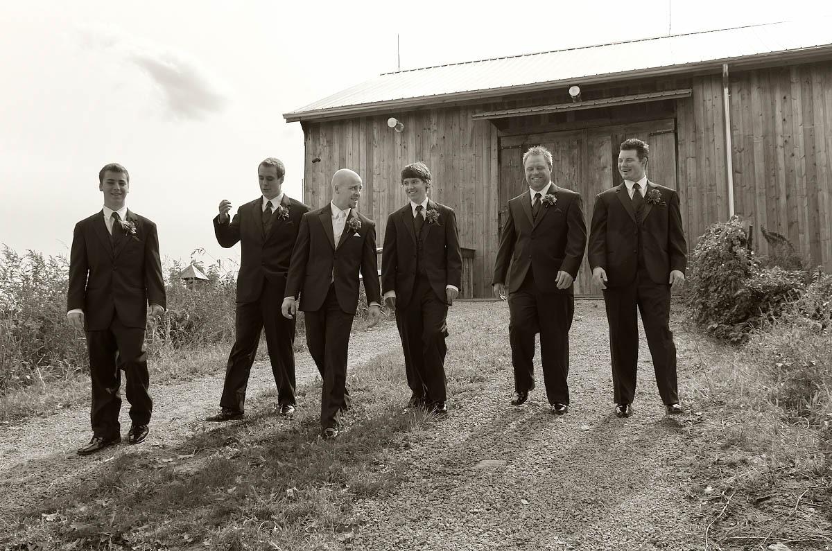 groomsmen walking away from barn belcroft tree farms