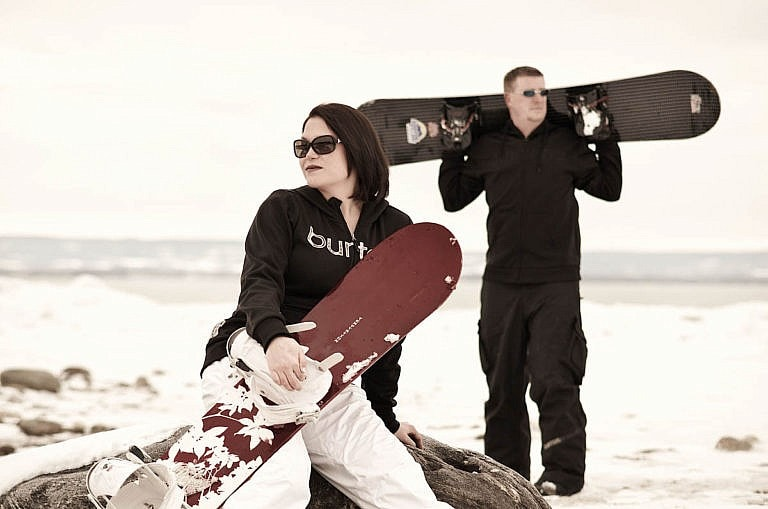 Snowboard engagement session at Wasaga Beach
