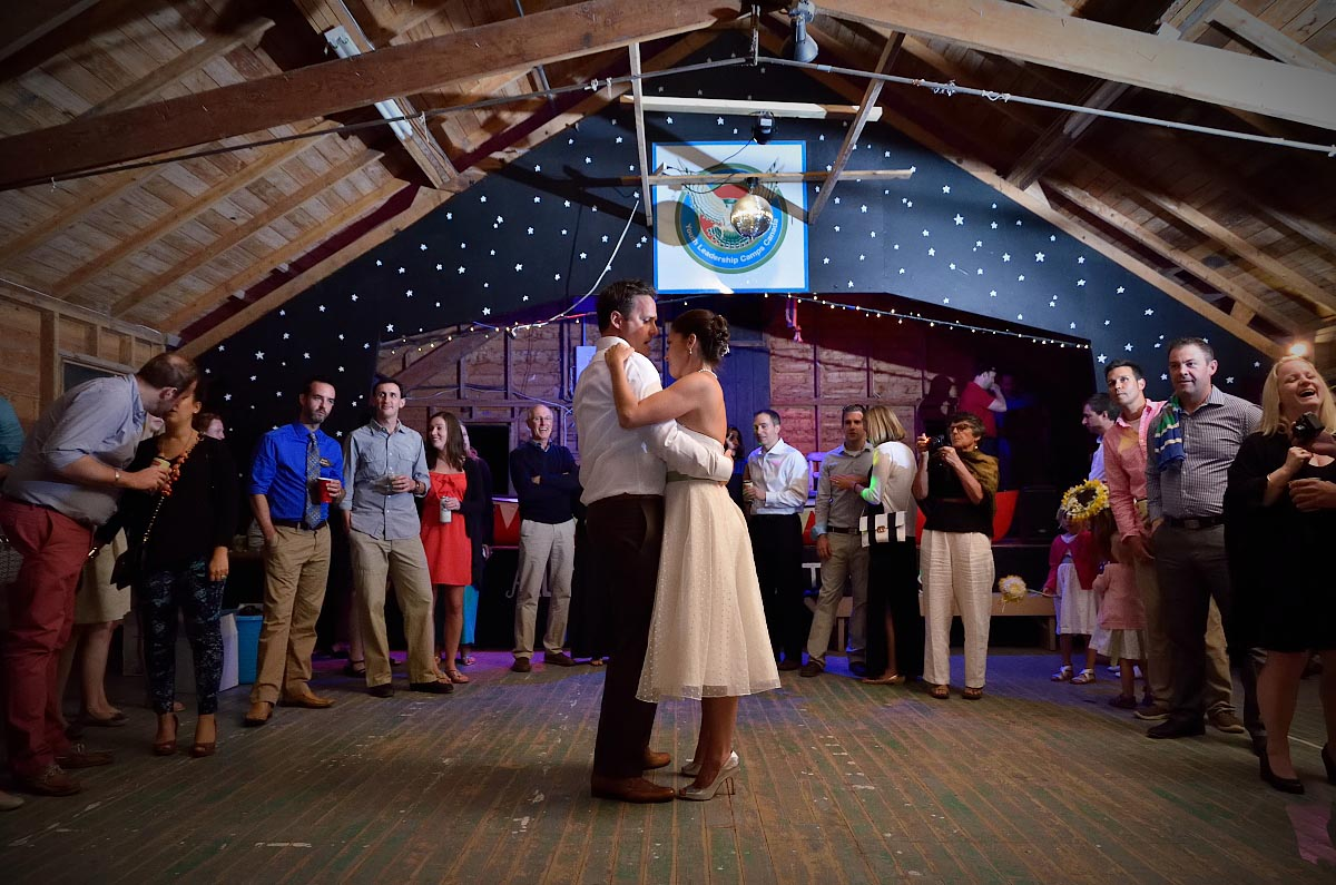 bride and groom dance at summer camp wedding at Youth Leadship Camp of Canada in Orillia