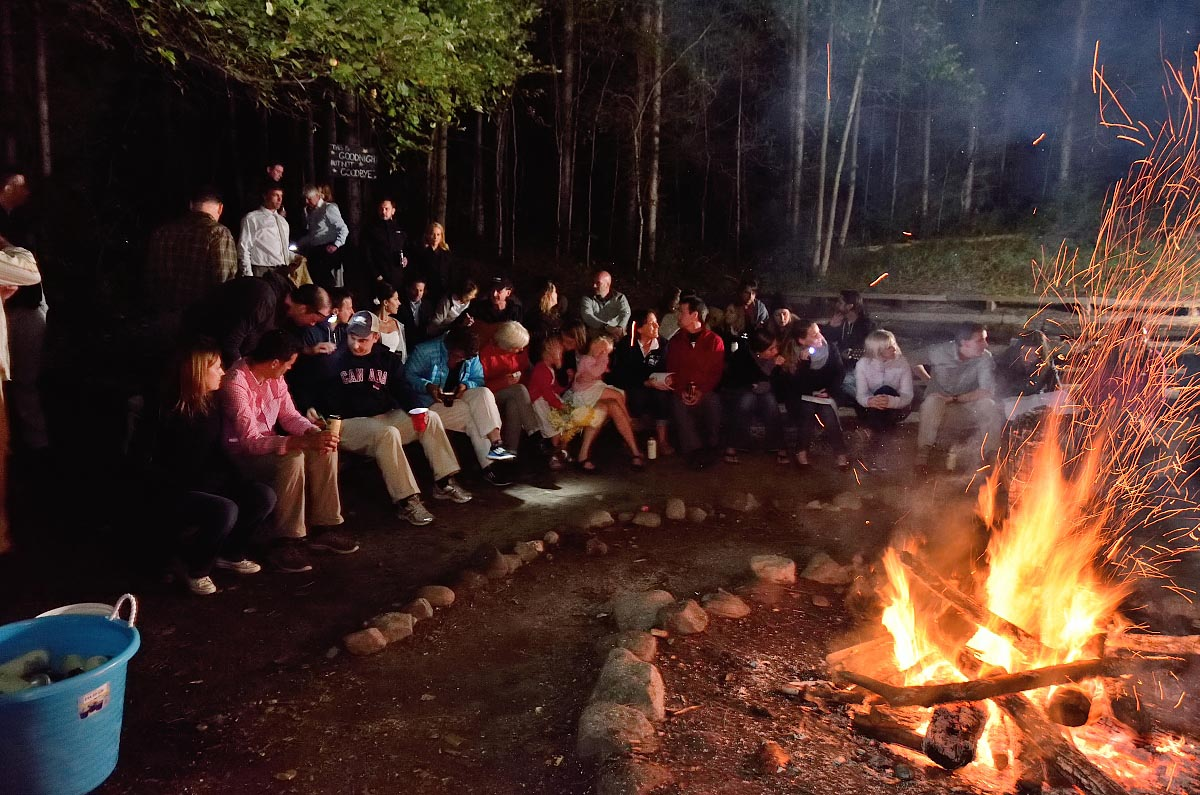 Campfire at Summer Camp Wedding at Youth Leadership Camp of Canada in Orillia