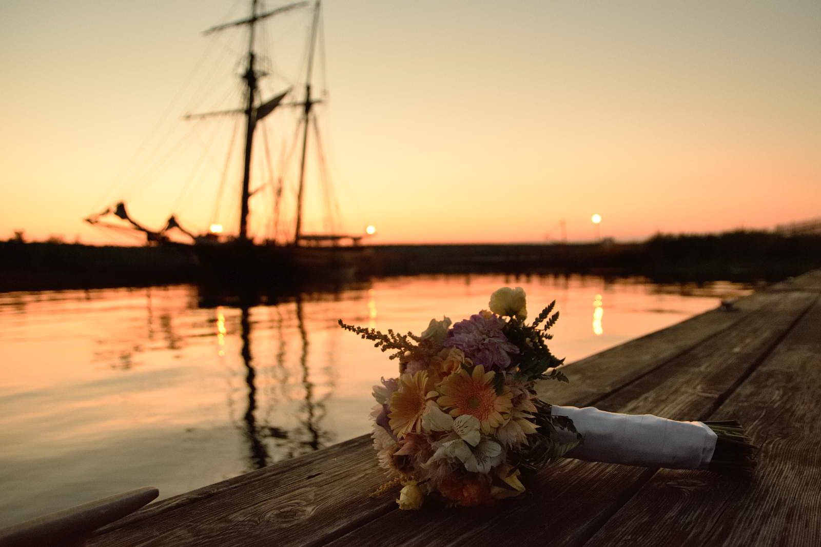 Wedding bouquet with tall ship at Discovery Harbour Wedding in Penetanguishene, Ontario