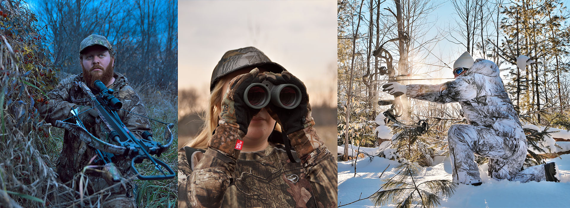 hunting composite image featuring crossbow, binoculars, and compound bow