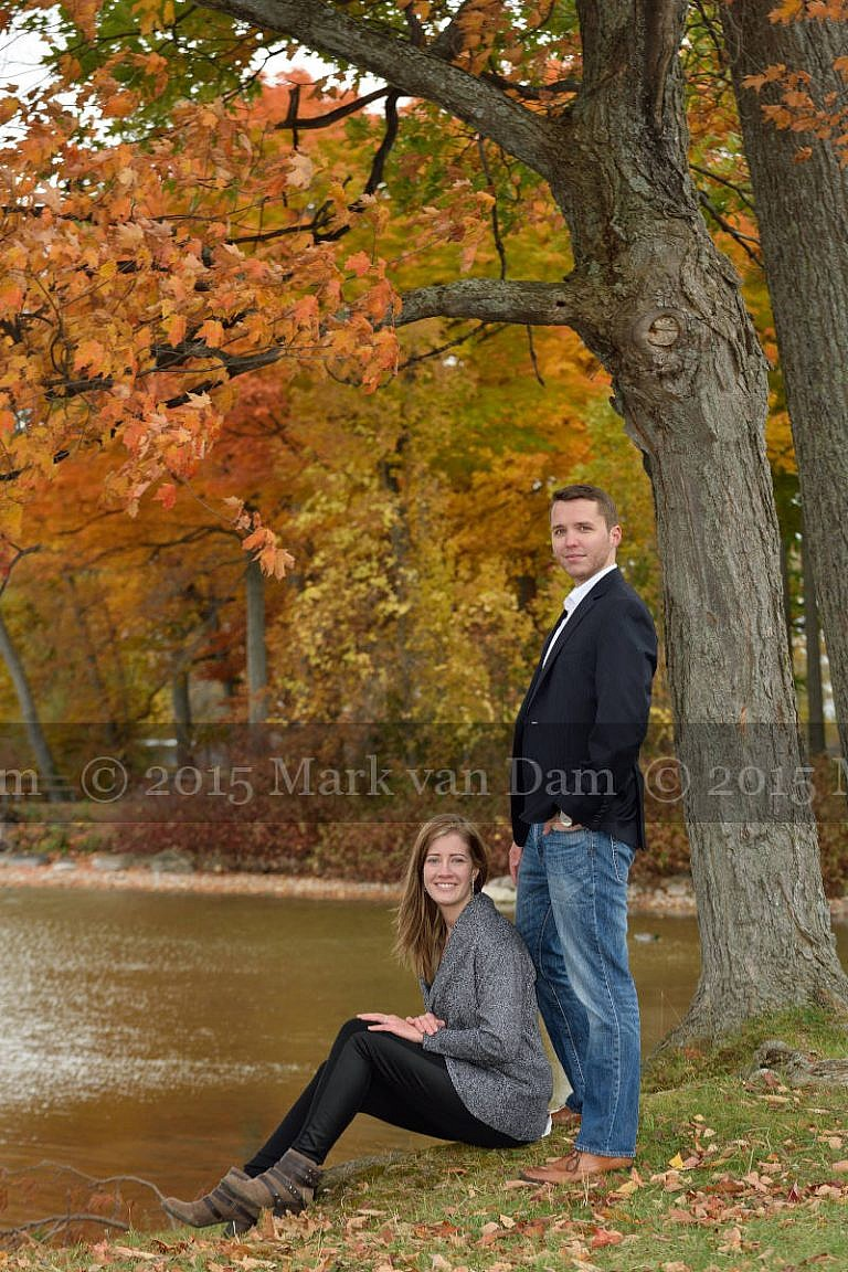 Orillia engagement photography session at Tudhope Park in Orilllia with punchy fall colours