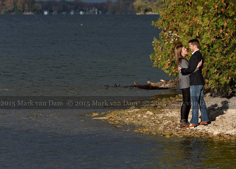 Couple kissing on point at Leacock Museum during Orillia Engagement session