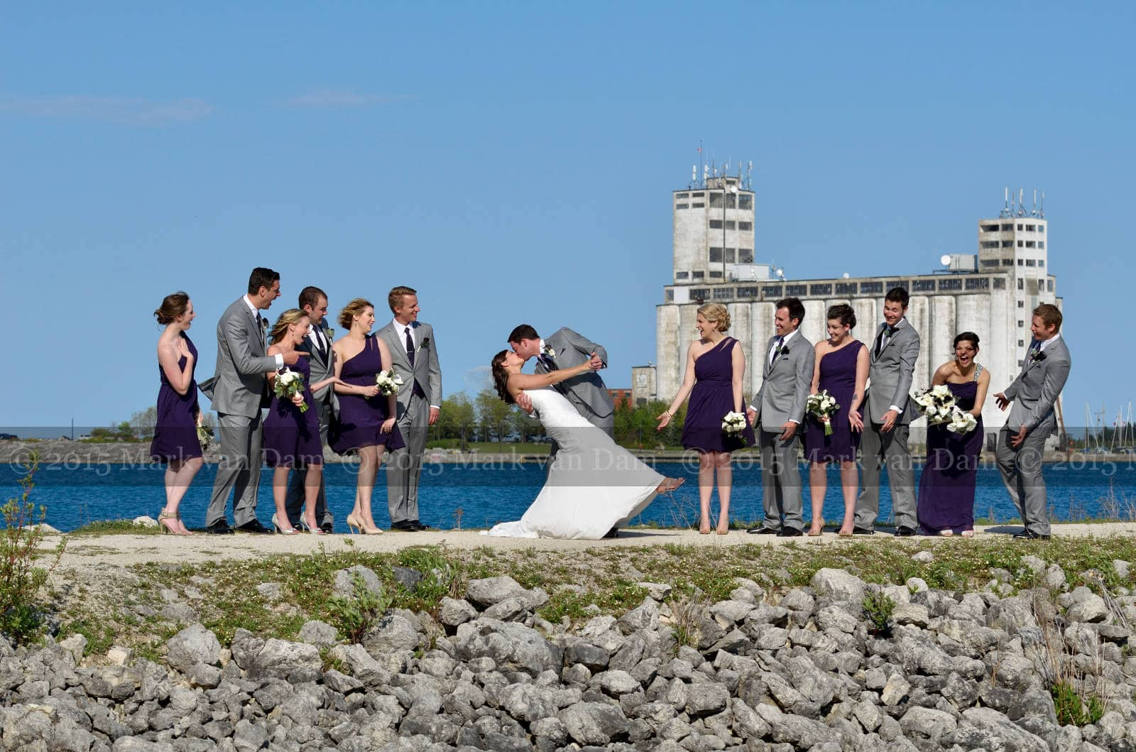 wedding party on breakwater at bear estate