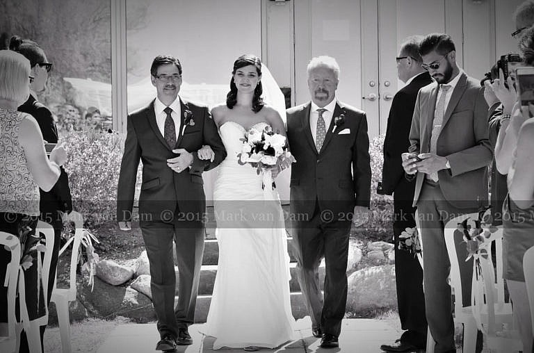 collingwood photographer, beautiful bride walks down aisle with father at Cranberry Resort Bear Estate Living Waters wedding