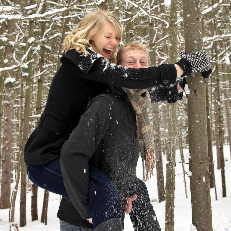 Snowy piggyback in Wasaga Beach Provincial Park
