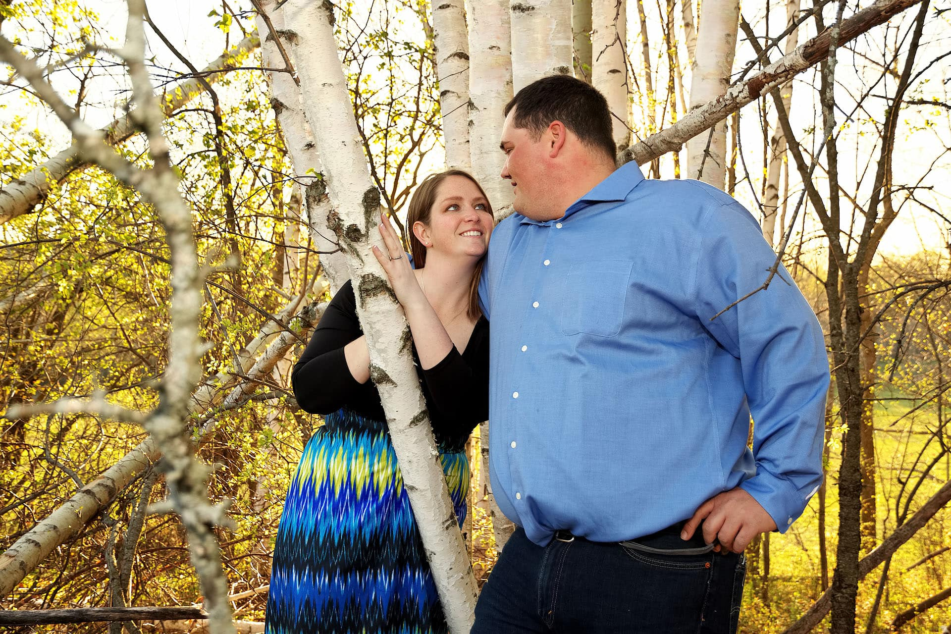 keene photographer engagement session with poplars and sunset