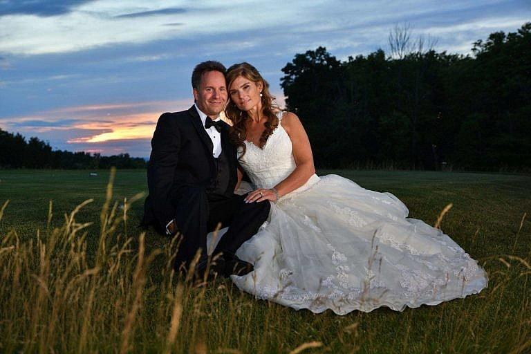 bride and groom at dusk at Bond Head wedding