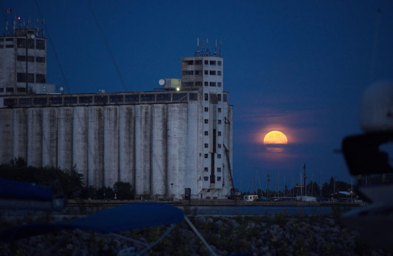 lunar eclipse from bear estate in collingwood looking at collingwood terminals