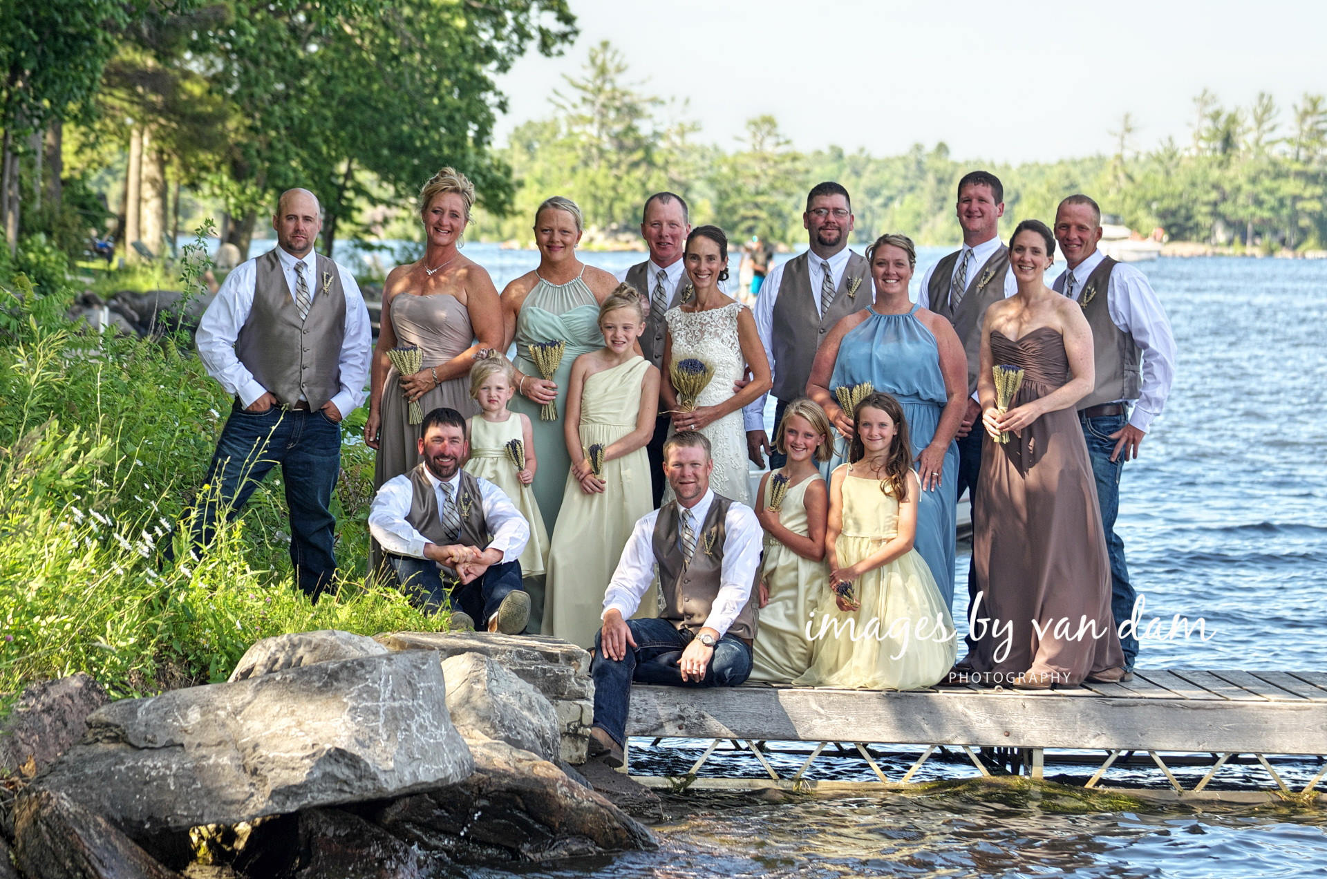 Ranch Styled wedding party on the dock at Beachwood Resort in Buckhorn, Ontario
