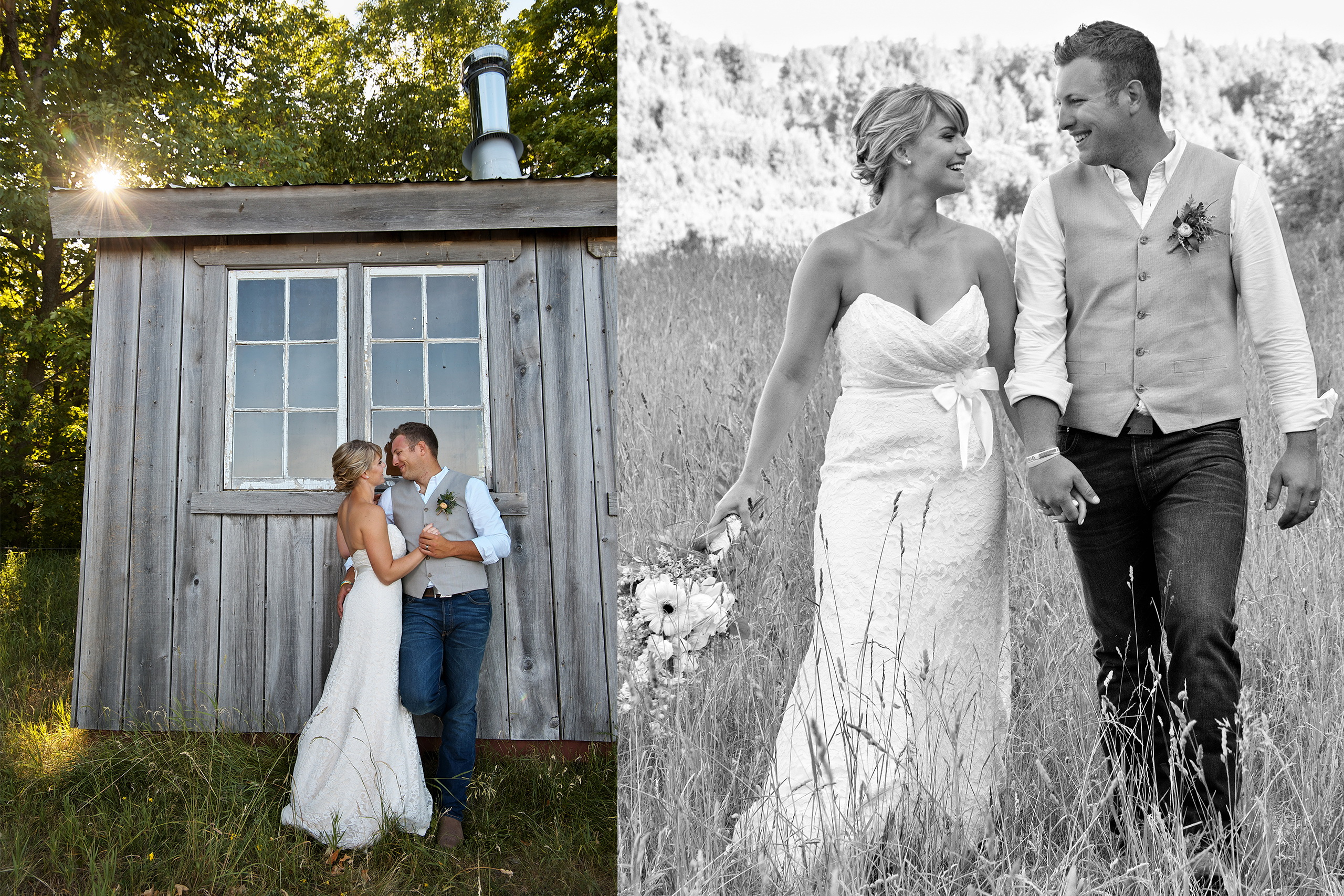 young wedding couple gets married on farm in kawartha lakes