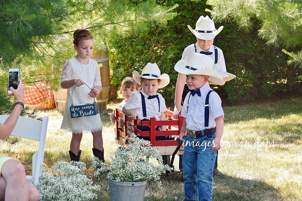 Ring Bearers and Flower Girls Pull Wagon During Processional