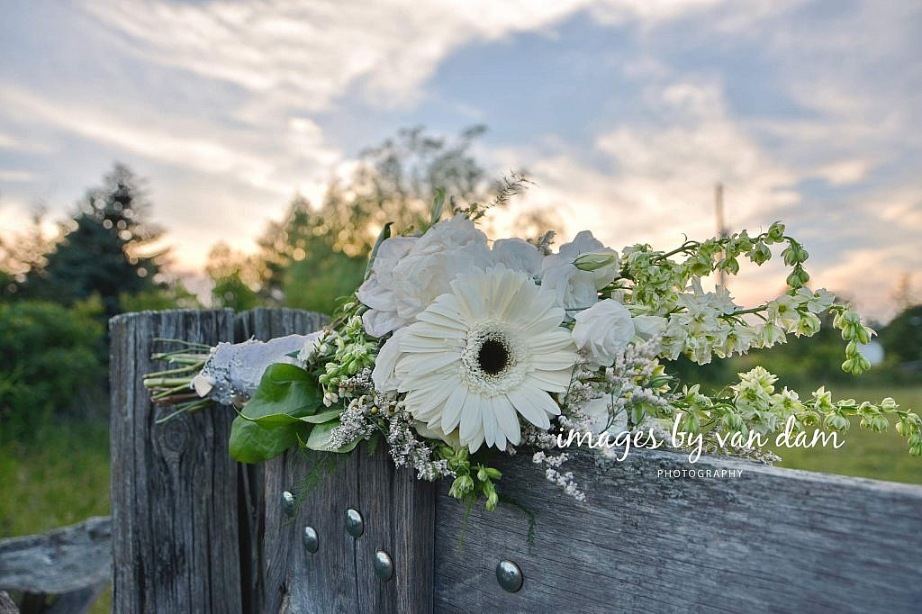 Wedding Bouquet on Split Rail Fence