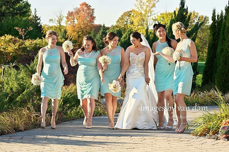 Beautiful bridesmaids in garden at Barrie Country Club wedding