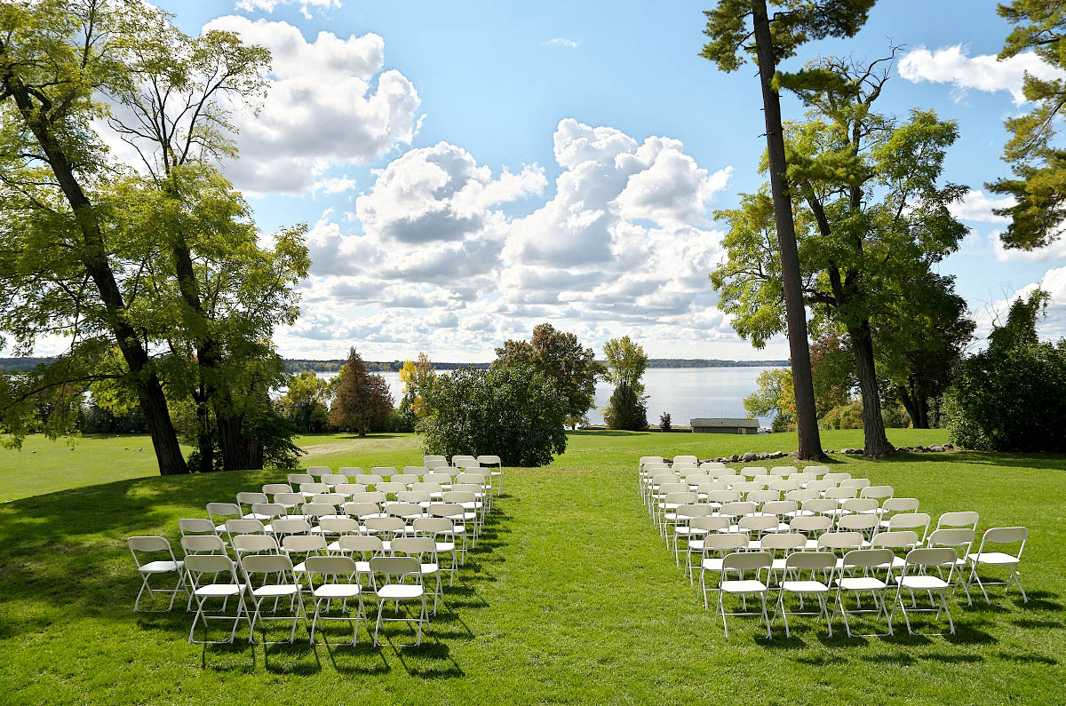 Wedding ceremony chairs lined up in front of the historic Dunsford House at Eganridge Resort in Fenelon Falls near Bobcaygeon