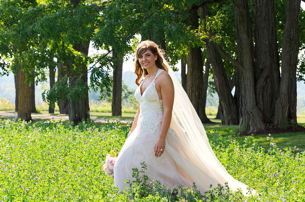 beautiful bride at country wedding in Omemee