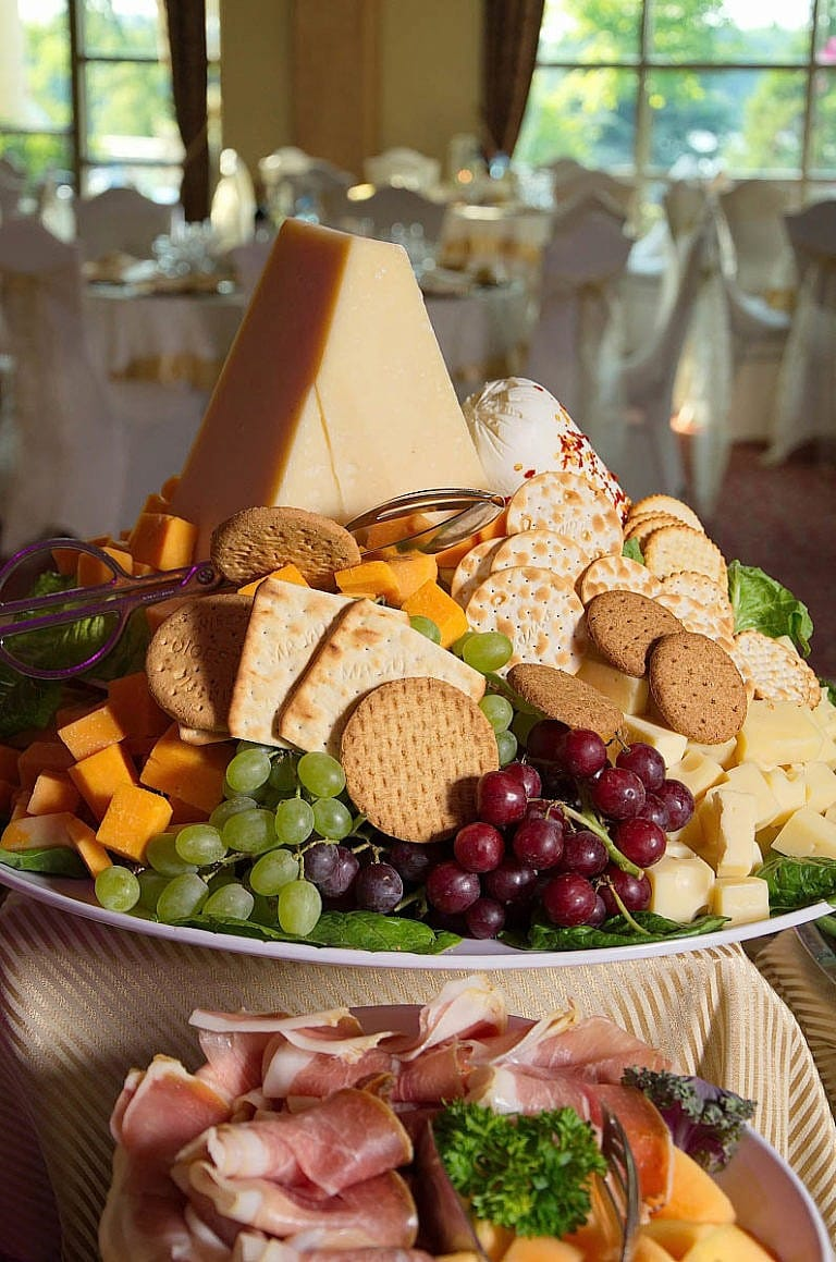 delicious cheese and meat tray at caledon wedding at royal ambassador