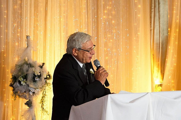 Bride's father makes a speech