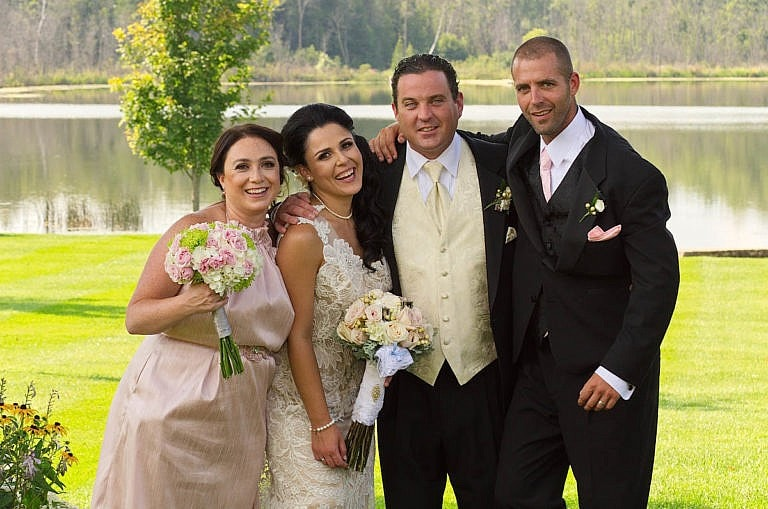 Couple with best man and maid of honour at Caledon wedding