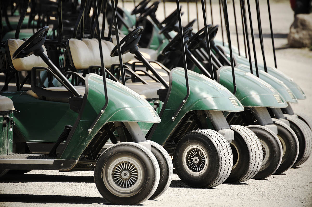 Golf carts lined up at Eganridge Resort Golf Club
