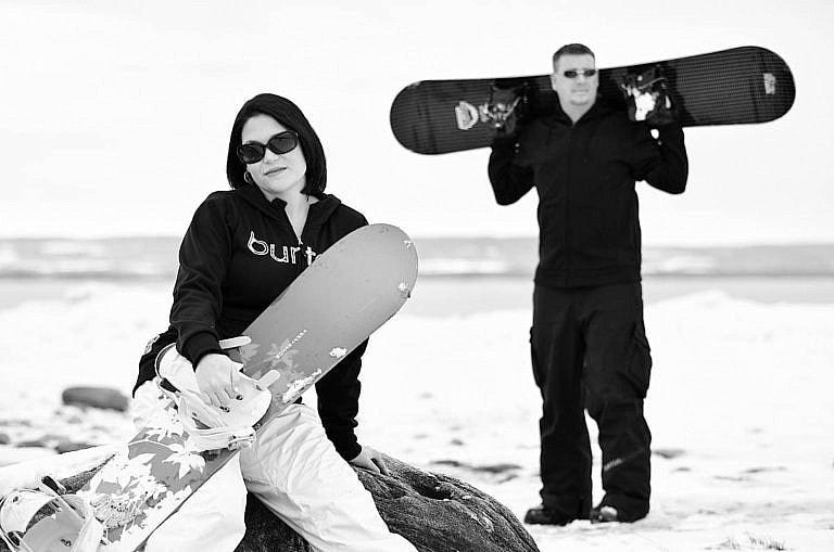 Snowboard engagement session at Wasaga Beach