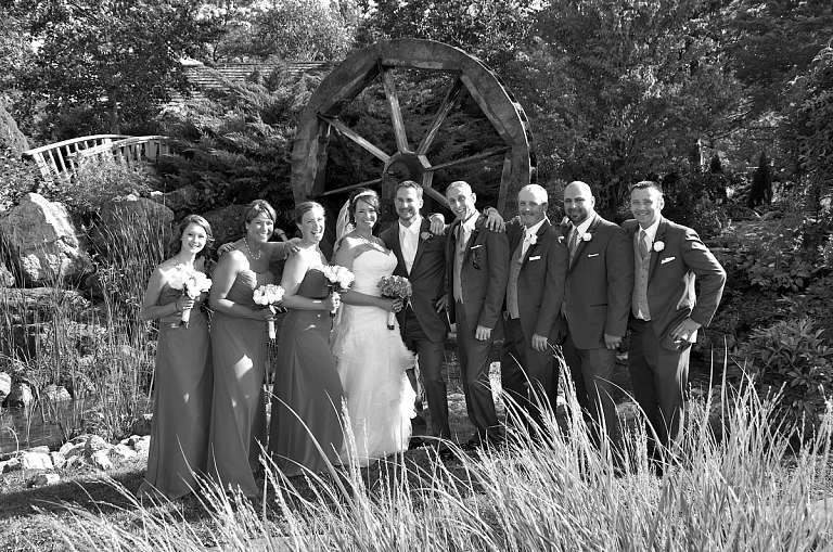 wedding party by water wheel nottawasaga