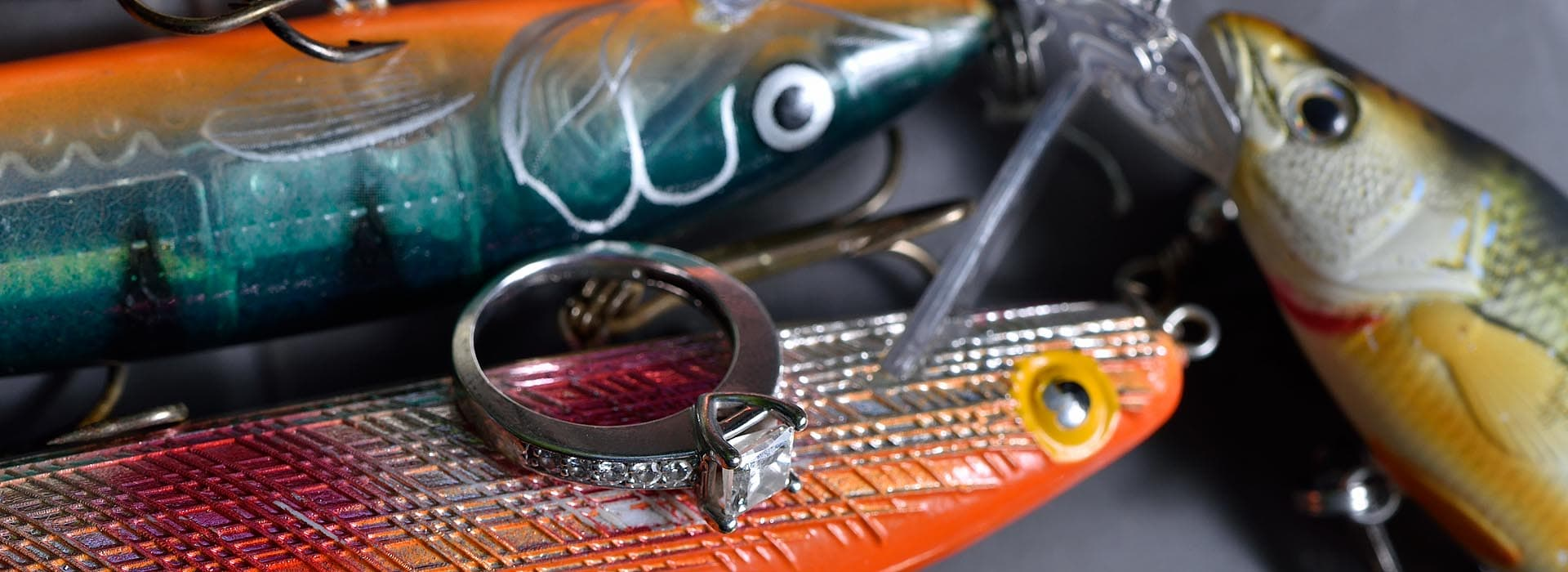 wedding rings with fishing lures barrie photographer tiny township photography