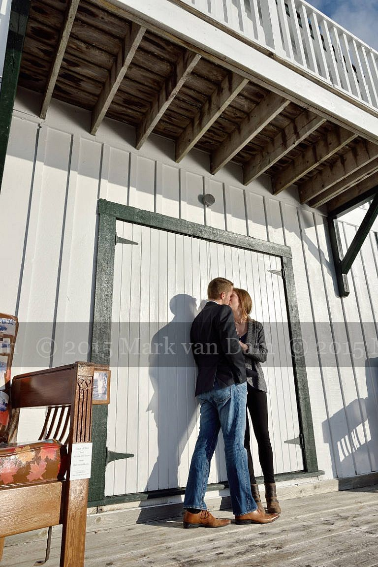 Couple Kissing on Leacock Museum boathouse