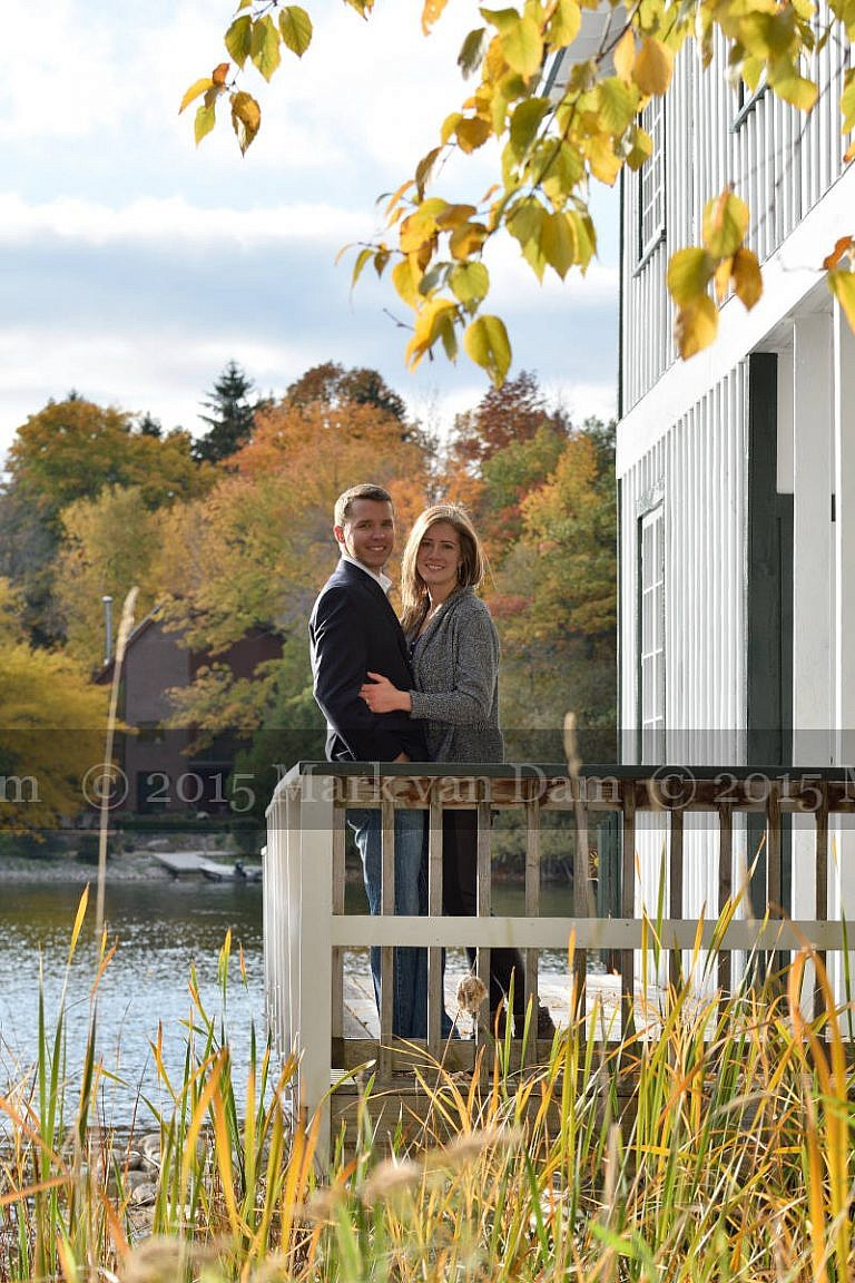 happy couple at Leacock Museum boathouse
