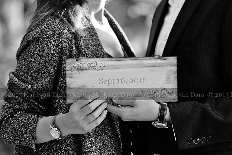 Save the Date closeup at Orillia engagement photography session