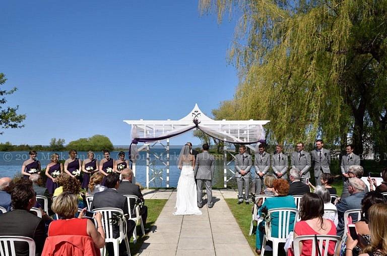 Collingwood wedding photographer, waterfront wedding ceremony at Cranberry Resort Bear Estate Living Waters wedding