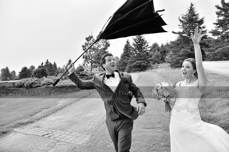 August gale inverts groom's umbrella at Orillia wedding