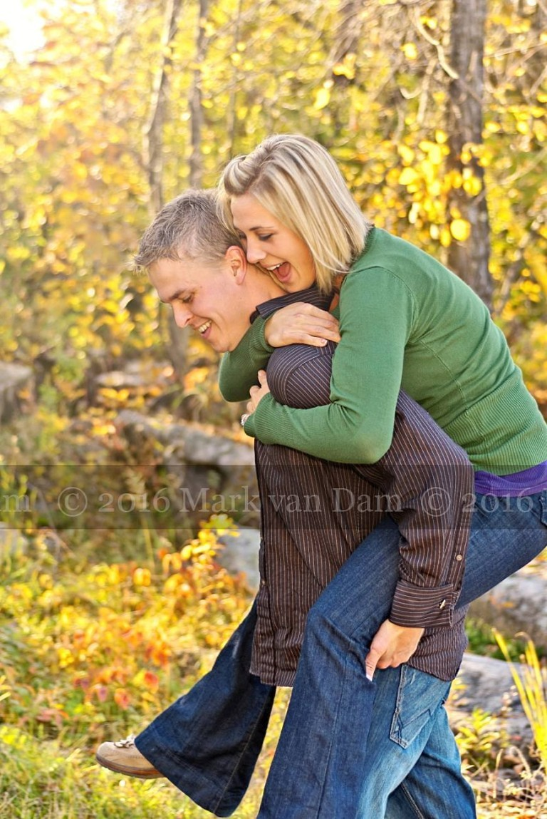 piggyback ride at burleigh falls during engagement phtography session